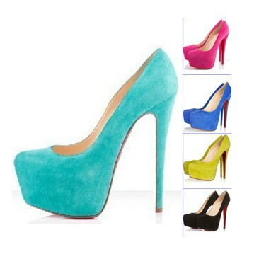2014 Concise Turquoise Red Yellow Nay Blue Pink Suede Red Bottom High Heels Pumps for Women -in Pumps from Shoes on Aliexpress.com