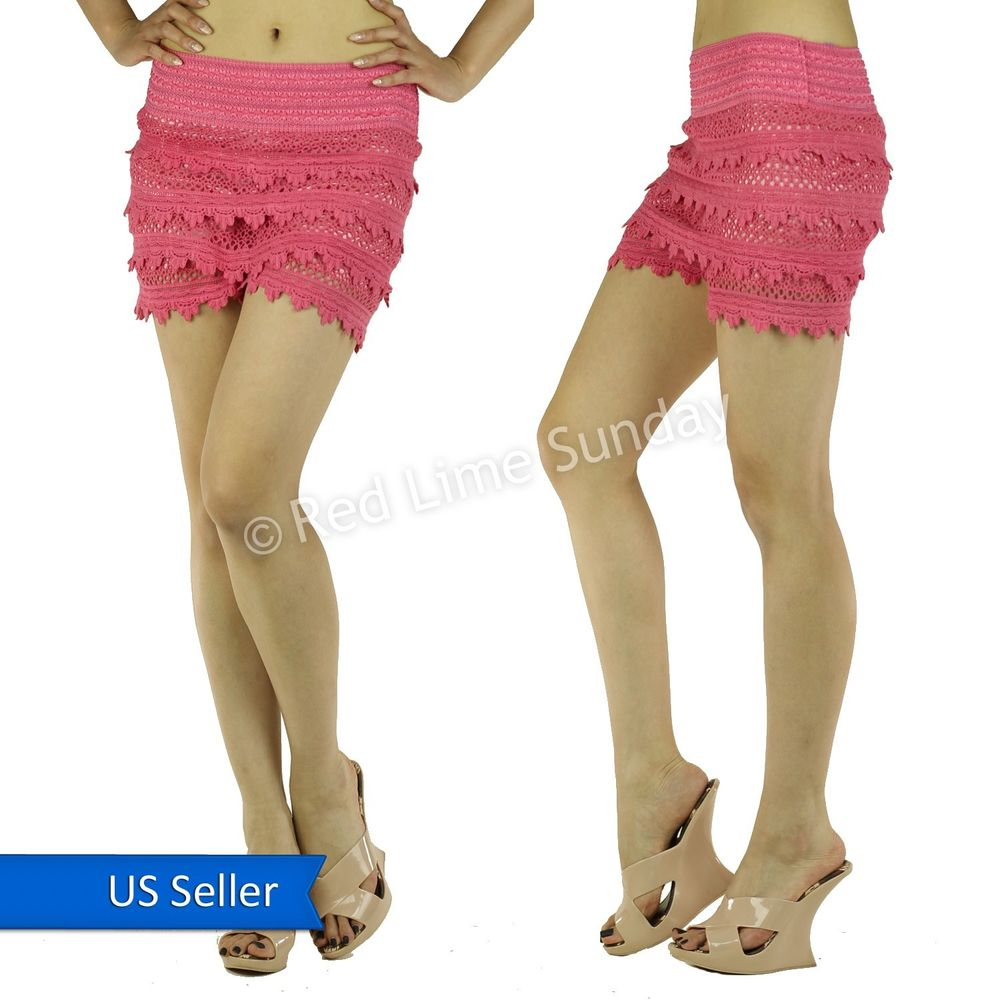 Cute Boho Hippie Pink Scalloped Hem Crochet Tiered Lace Short Shorts Hot Pants