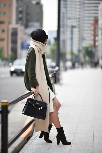 scarf tumblr knitted scarf knitwear coat grey coat bag black bag boots high heels boots ankle boots suede boots suede