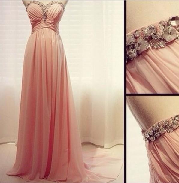 dress formal formal dress coral pale gem glamour sparkle