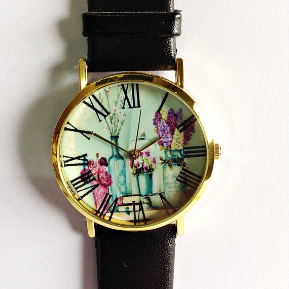 Shabby Chic Floral Watch, Vintage Style Leather Watch, Women Watches, Boyfriend Watch, Black, Tan, White