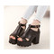 Black leather chunky shoes platform heels | awesome world - online store