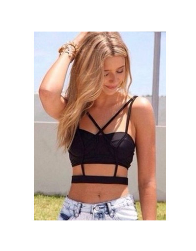 Black cross crop top backless sexy party beach nigh out street style
