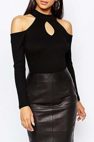 top black sexy cut-out fall outfits fashion style off the shoulder chic long sleeves