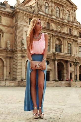 skirt cut blue skirt shirt bag shoes jewels