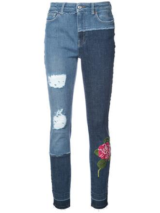 jeans patchwork women spandex floral cotton blue