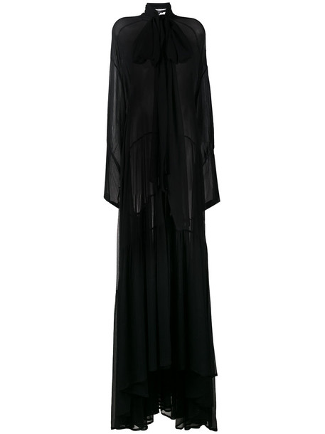 gown sheer women slit black silk dress
