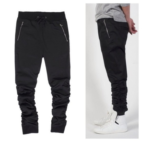 for men pants cotton black sweatpants zipper slim fitting spandex zipper pockets menswear