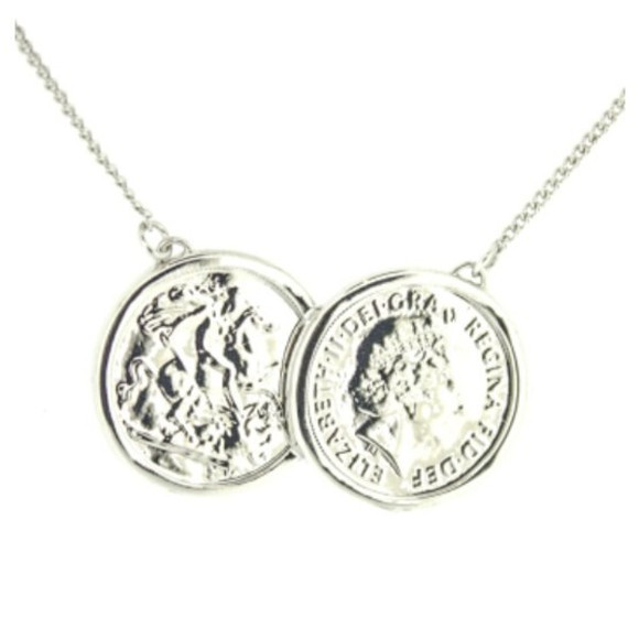 jewels accessory silver michelle keegan coin necklace necklace jewellery, Jewlery