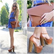 bag,clutch,oversized envelope clutch,envelope clutch,brown leather bag,leather,outfit,dress,blue dress,high heels,sunglasses,jeffrey campbell,belt,summer outfits