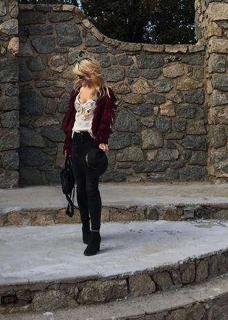 love maegan blogger top hat jacket shoes bag sunglasses fall outfits ankle boots skinny jeans burgundy jacket felt hat