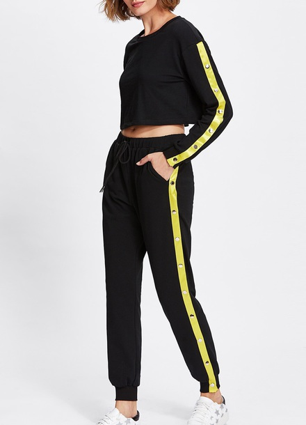 jumpsuit girly black yellow two-piece matching set crop crop tops cropped cropped sweater joggers