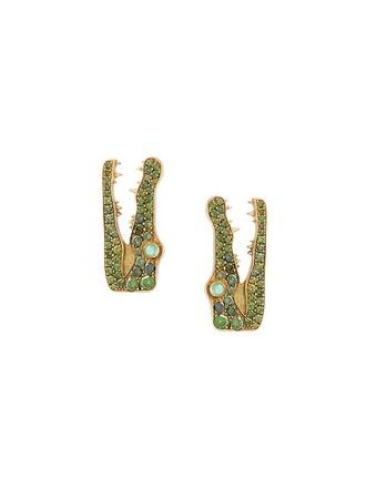 metallic women diamonds earrings crocodile jewels