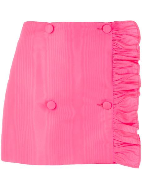 MSGM skirt mini skirt mini asymmetrical ruffle women purple pink