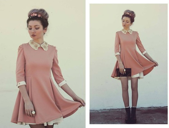golden dress beautiful pink cute grunge peter pan colar collar