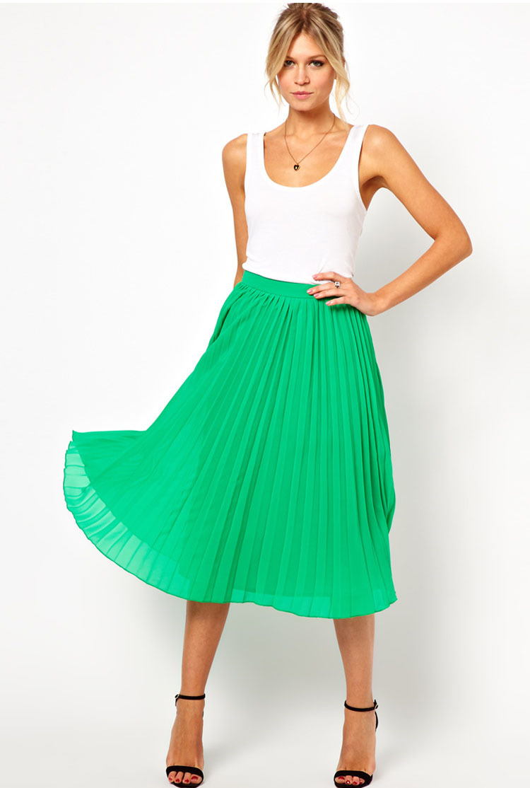 Christmas Day! Fashion Women's Pleated Midi Skirt 2013 Black/Blue/Green/White-inSkirts from Apparel & Accessories on Aliexpress.com