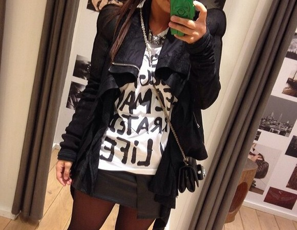 black jacket stylish t-shirt
