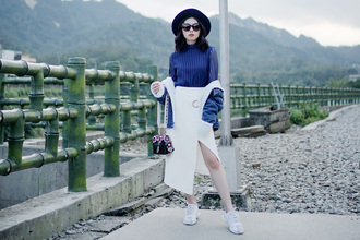 olivia lazuardy blogger hat sunglasses jewels top skirt bag shoes white skirt spring outfits sneakers blue top