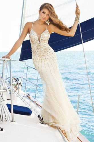 dress champagne dress sparkly dress mermaid prom dress mermaid dresses prom dress long prom dress 2014 long prom dresses pretty dress! pretty cute dress sexy dress white long dress white prom dress