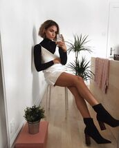 dress,silk dress,slip dress,white,white dress,nude,nude dress,cream,satin,satin dress,instagram,pinterest,shoes,black,suede,heels,block heel,wooden,zip,boot,boots,white slip dress,sexy dress,black ankle boots,blogger,black turtleneck top,date outfit