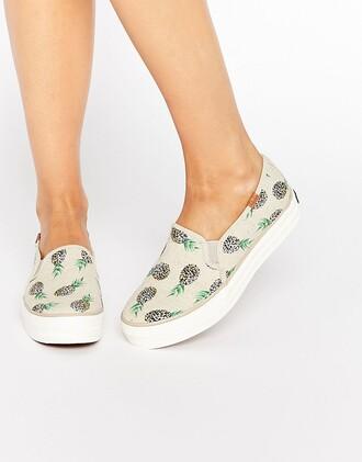 shoes pineapple vintage white beige nude flatties summer