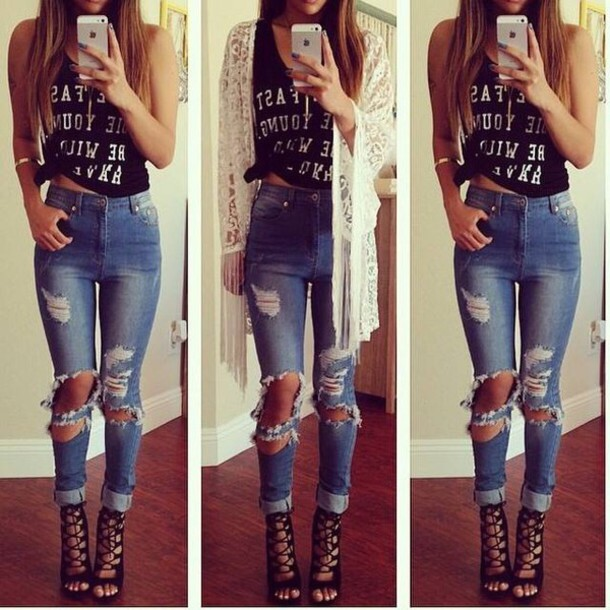 x0zfvg-l-610x610-jeans-lace-skinny jacket-denim jacket-skinny pants-skinny jeans-denim-skinny-style-classy-ripped jeans-black white-heels-high heels-boots-