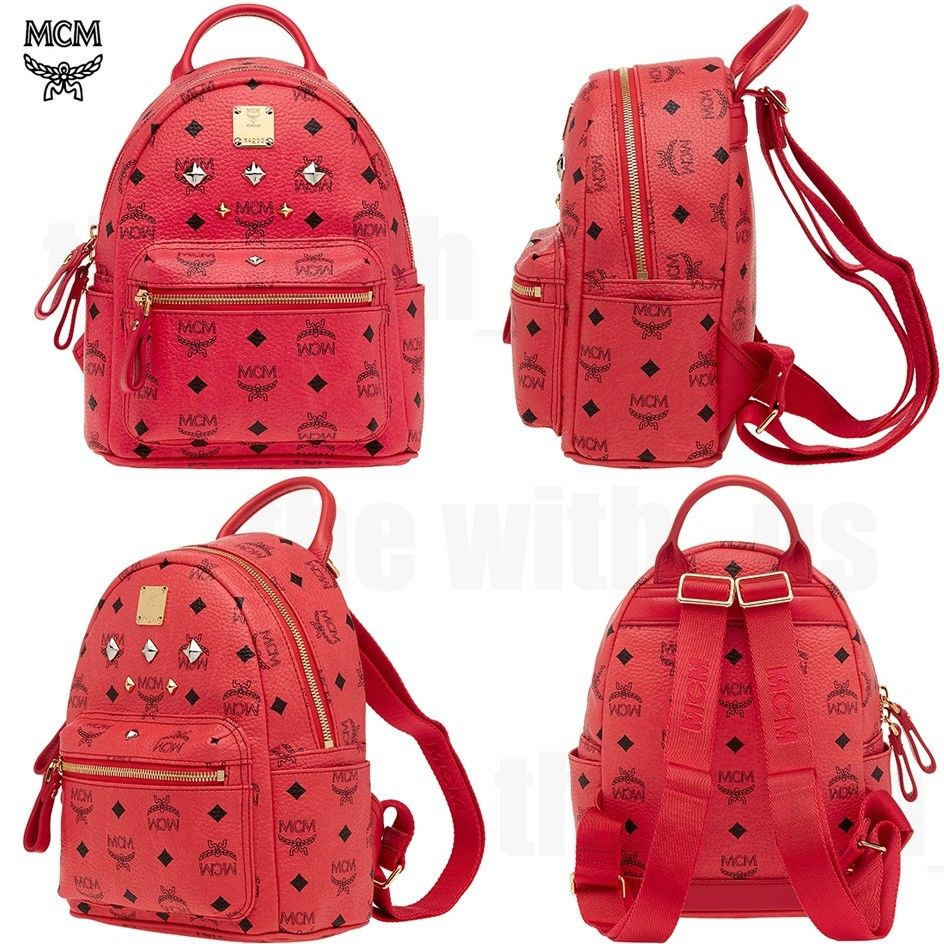 MCM Stark Cognac Visetos Mini Backpack Red Pink Color Authentic MMK2AVE27RE | eBay
