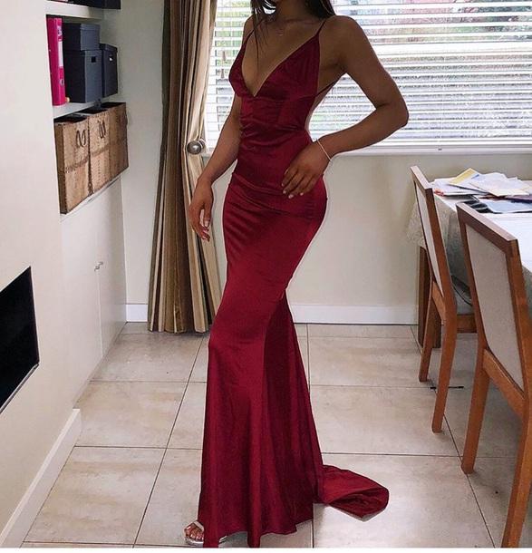 b75ce7138baaa9 dress satin fishtail maroon maxi dress burgundy dress red dress satin dress  silk dress prom dress