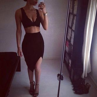 black bodycon skirt assymetrical skirt midi skirt underwear