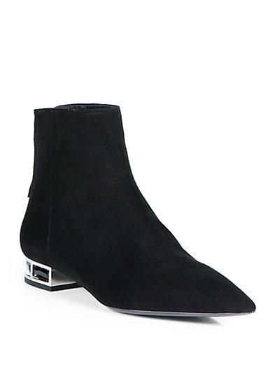 Miu Miu - Suede Rhinestone-Heel Ankle Boots - Saks.com