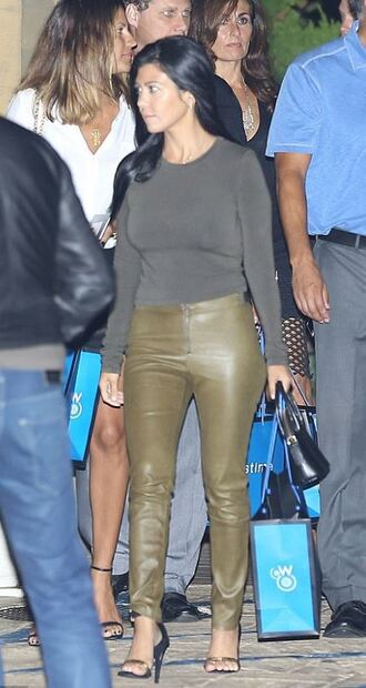 leather leather pants kourtney kardashian sandals top