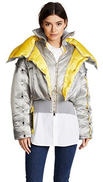 VERSACE jacket bomber jacket yellow grey