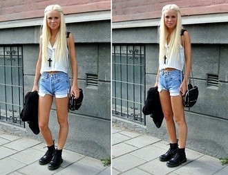 shoes black drmartens high waisted shorts cross necklace blouse shirt white shorts cross jewels necklace bag fashion blogger blogger style fashion vibe