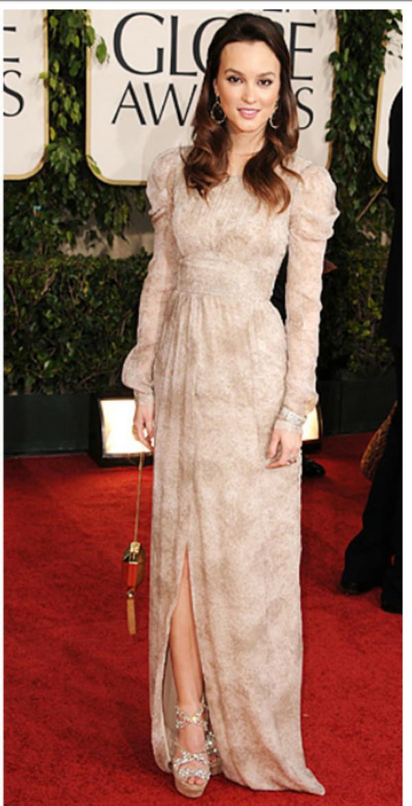 leighton meester blair waldorf gossip girl maxi dress beige dress