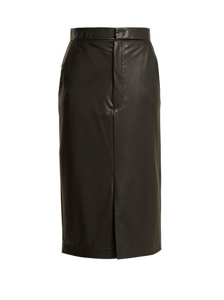 skirt pencil skirt midi leather black