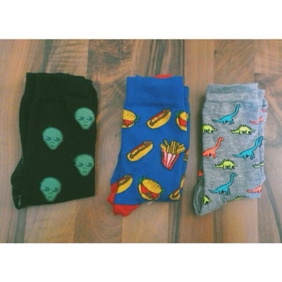 hamburger food fries socks black underwear cheeseburg urban outfitters Dinosaur print dinosaur dino american apparel hotdogs hotdog aliens alien french fries