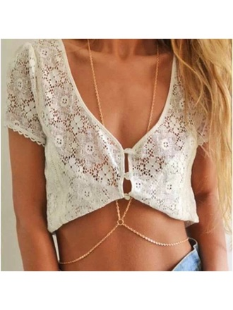 top lace cover up lace top crop tops beach dress white top jewels