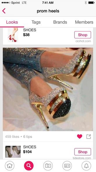 shoes triple platform heels prom dress fancy prom shoes cute high heels gold sequins fast shippment evening dress high heels platform heels