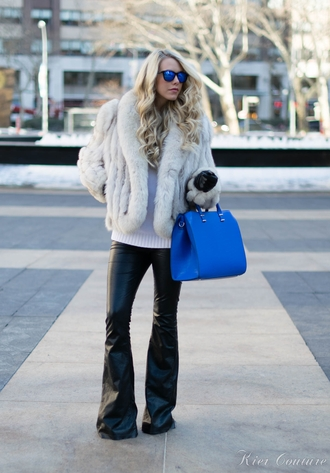 fashion addict blogger flare pants leather pants faux fur jacket blue bag coat sweater pants bag gloves shoes