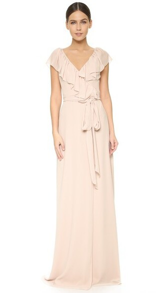 dress wrap dress ruffle v neck
