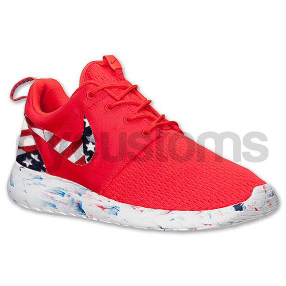 Nike Roshe Run Red Marble American Flag Pride Print by NYCustoms