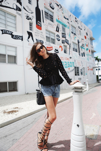 style scrapbook blogger top shorts shoes bag sunglasses jewels