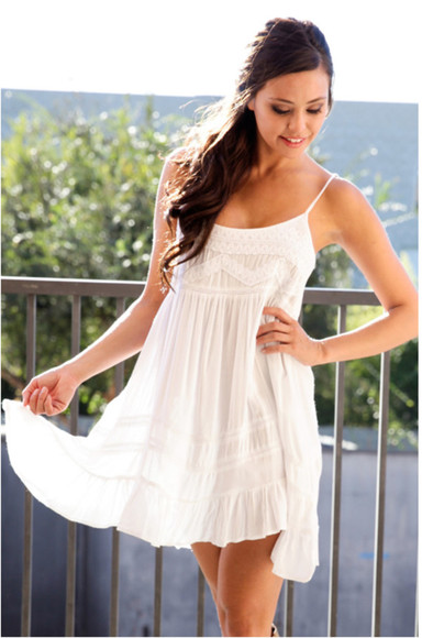 bohemian dress white dress boho boho chic hipster embroidered embroidered dress white embroidered dress babydoll dress babydoll white baby doll dress girl girly sleeveless dress