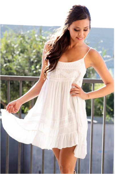 Dress: white dress, embroidered, embroidered dress, white ...