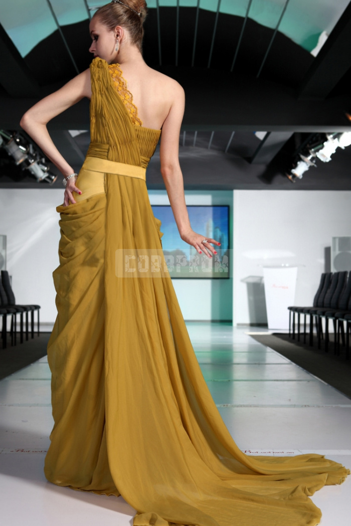Line one shoulder natural waist evening dress