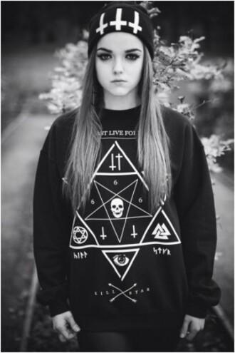 sweater satanic triangle cross skulls