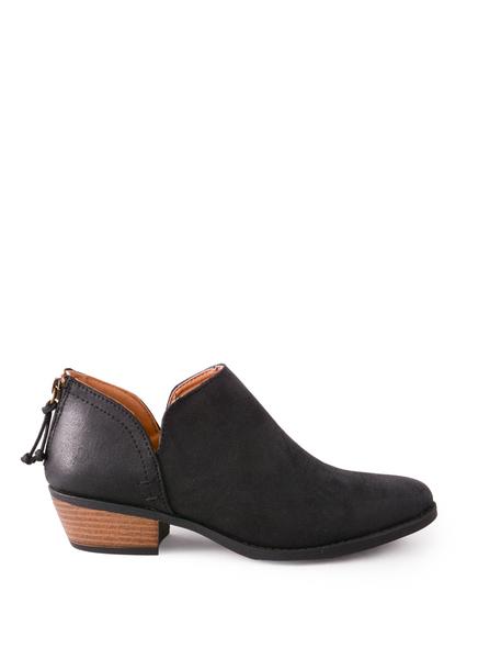 shoes, black, bootie, low cut, low heel