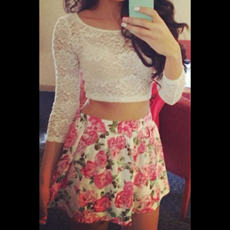top lace crop tops white shirt floral skirt hair accessory skirt