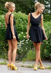 dress,shoes,clothes,girl,class,backless,bow,little black dress,backless dress,black,heels,yellow,black dress,mustard suede heel,low back dress,short dress,flowy,v back,v neck dress,navy,navy dress,open back dresses,blue dress prom short