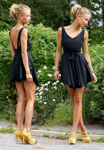 little black dress pinterest dress shoes clothes black high heels yellow girl class bows backless little black dress backless dress pretty dress little black dress mustard suede heel short dress low back dress flowy v back v neck dress